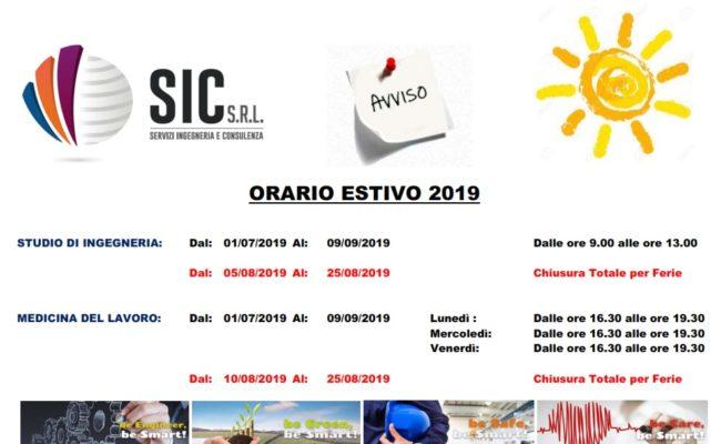 Orario e Chiusura Estate 2019