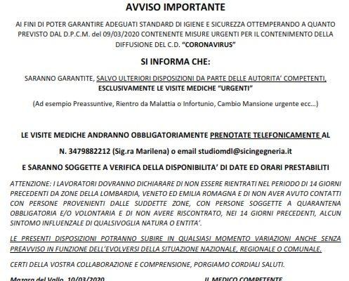 DISPOSIZIONI URGENTI EMERGENZA CORONAVIRUS